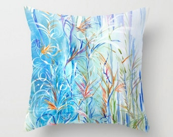 Blue Rain Decorative Throw Pillow- Blue & Floral Pillow- Home Decor- Blue Abstract - Blue Pillows - Sofa Pillows - Blue Floral Bedding