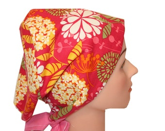 Scrub Hat Surgical Scrub Cap Chemo Vet Nurse Dr Hat European Style Pixie Pink Yellow Orange Green Floral 2nd Item Ships FREE
