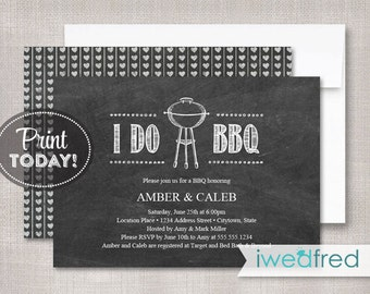 I Do BBQ Invitation, Couples Shower Invitation, Engagement Bbq Invitation, I Do Bbq Printable, Bbq, Printable PDF, Instant Download, #WED107