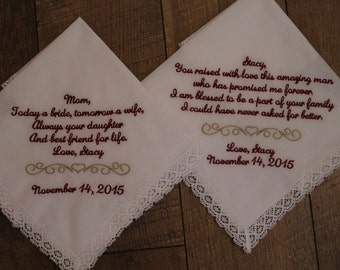 Set of two custom wedding handkerchiefs - mother of the bride gift and mother of the groom hankerchief