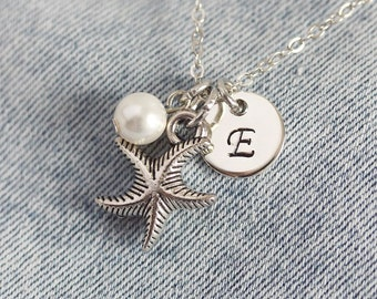 Initial Pendant Necklace, Initial Necklace, Silver Personalized Necklace, Handstamped Necklace,Personalized Jewelry,Monogram Charm,Starfish