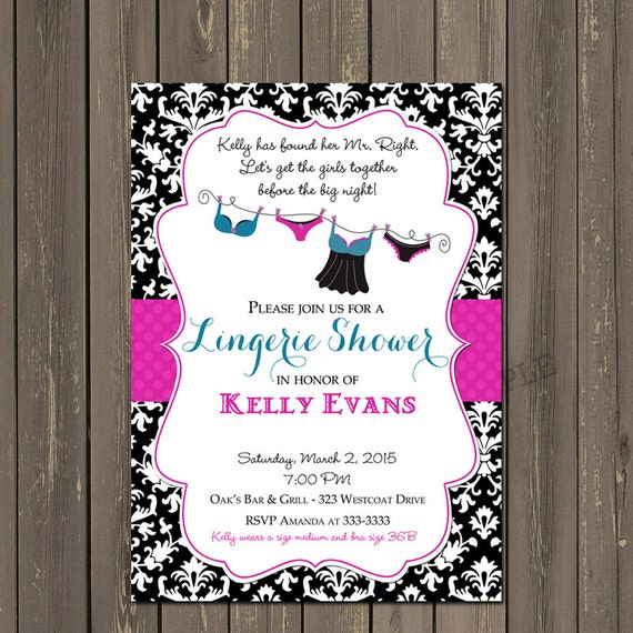 Lingerie Shower Invitation Pink and Black Lingerie Shower Invite