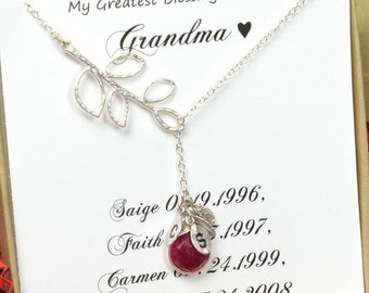Family Tree Necklace Mothers Day Personalized Birthstone Necklace Mothers Necklace Gifts for Mom Gifts for Grandma Family Jewelry necklace