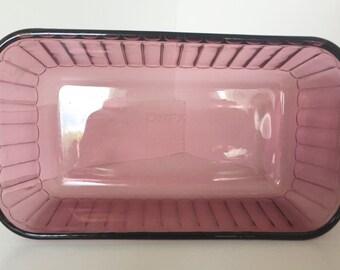 Vintage Pyrex Bread/Meat Loaf Pan Amethyst Glass Baking Dish Ovenware