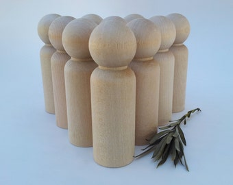 Wooden Peg Dolls / 10 Grooms / 10 Grandpa Peg People / Unfinished Maple Ready to Paint