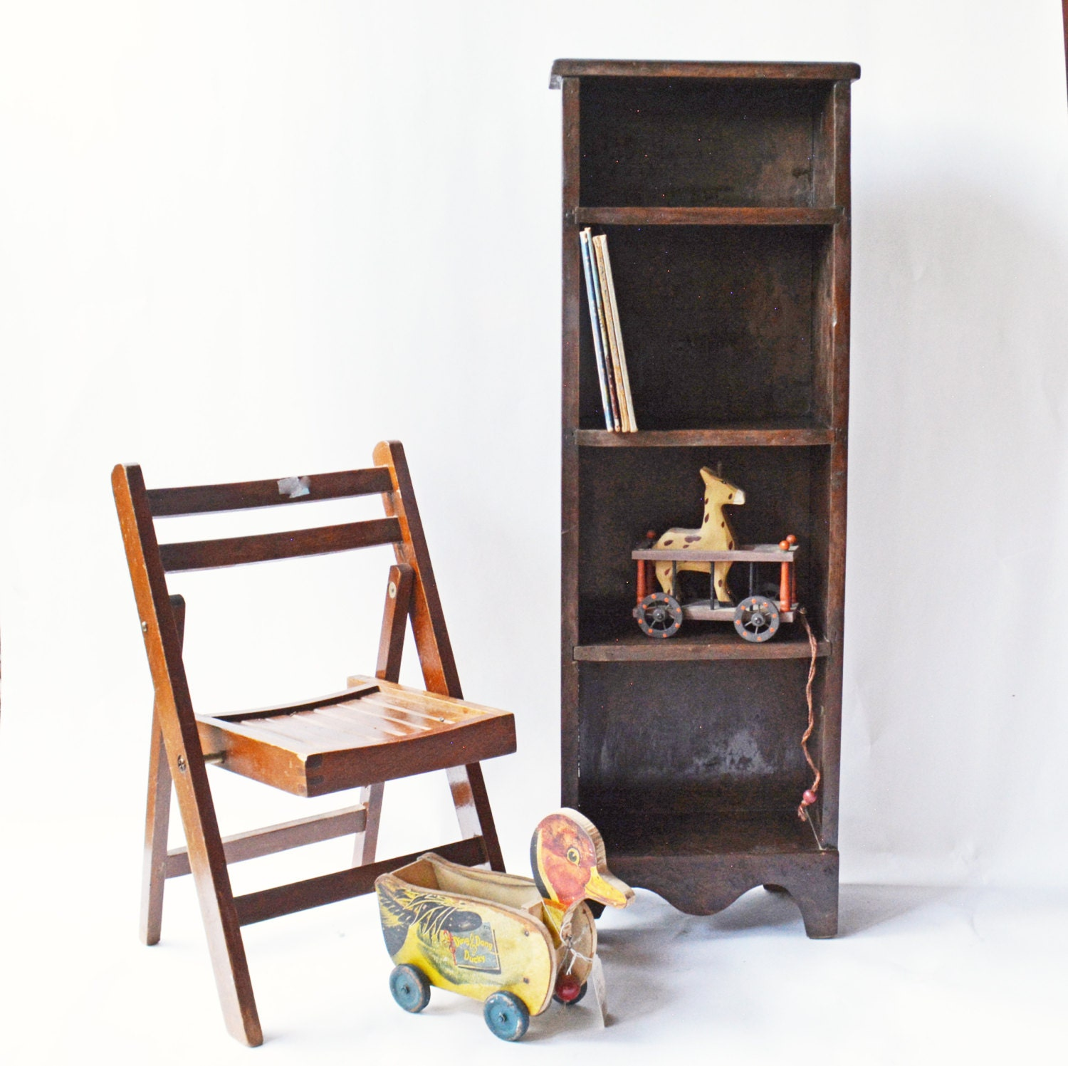Vintage Wooden Bookcase Small Bookcase Chimney Bookcase