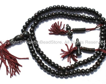 108 beads - Tibetan Black Bone Mala Prayer Beads with Bone Bell & Vajra Counters - 8mm - Tibetan Mala Beads - Mala Making Supplies - PB79