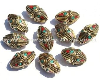 10 beads - Ethnic Tibetan Brass Beads with Turquoise & Coral Inlays - Nepal Tibetan Thick Brass Bicone Inlaid Handmade Beads - B2001-10