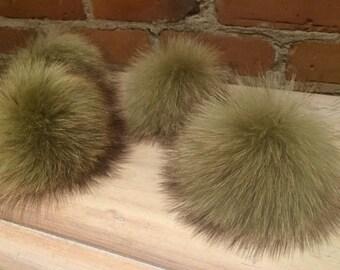 Real Fur Pom Pom - Soft Olive Green Raccoon Fur Pom Pom for Your Knit Hat - 4.5-Inch