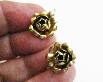 Estate Earrings Antique Goldtone Rose Earrings Retro Mid Century Earrings Rhinestone Accent Vintage Jewelry Screw Back Earrings 1960's