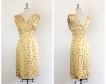 50s Yellow Orange & Pink Silk Wiggle Dress / 1950s Vintage Bombshell Polka Dot Party Dress / Small / Size 4