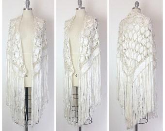 30s Woven Ivory Wedding Silk Shawl with Fringe / 1930s Vintage Tassel Capelet Shrug / OSFM