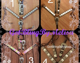 Bling Headstall and Bling Breast Collar For Horse or Cob Size Brown Leather Tack