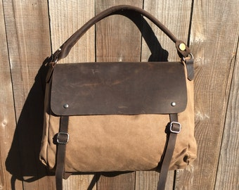 Brown Canvas and Brown Leather Bag