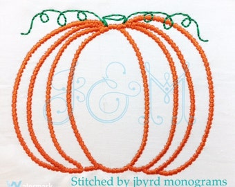 "Pumpkin ""beaded"" outline embroidery design - vintage stitch - halloween - fall"