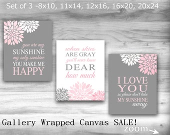 CANVAS SALE You Are My Sunshine Pink Gray Nursery Decor Set OF 3 Baby Bedroom Decor 8X10 16X20 Large Wall Art  Art Baby Shower Gift