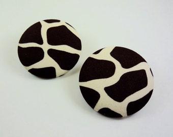 Extra Oversized Giraffe Animal Print Fabric Button Earrings
