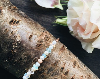 Rose gold bracelet with pearls, opal, topaz and aquamarine - bridesmaid gift