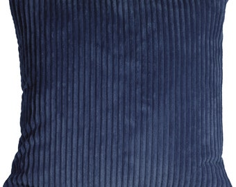 Wide Wale Corduroy 18x18 Dark Blue Throw Pillow