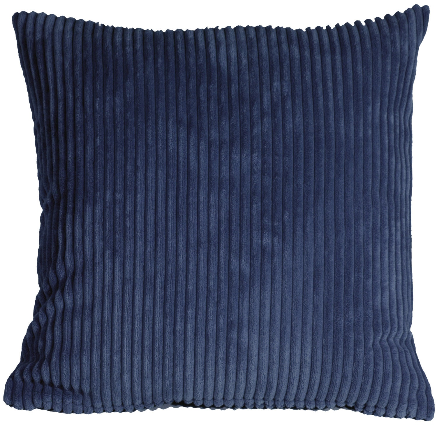 Dark Blue Throw Pillow : Wide Wale Corduroy 18x18 Dark Blue Throw Pillow