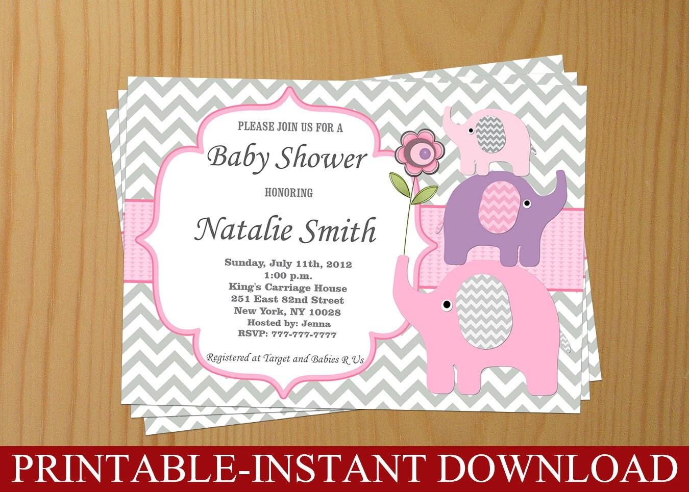 baby shower invitation elephant baby shower invitation girl