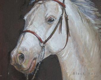 Horse Portrait/Digital/Horse Art/Grey Horse Portrait/JPG/