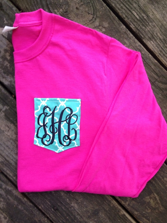 Long sleeved personalized monogrammed pocket t shirts for Personalized long sleeve t shirts