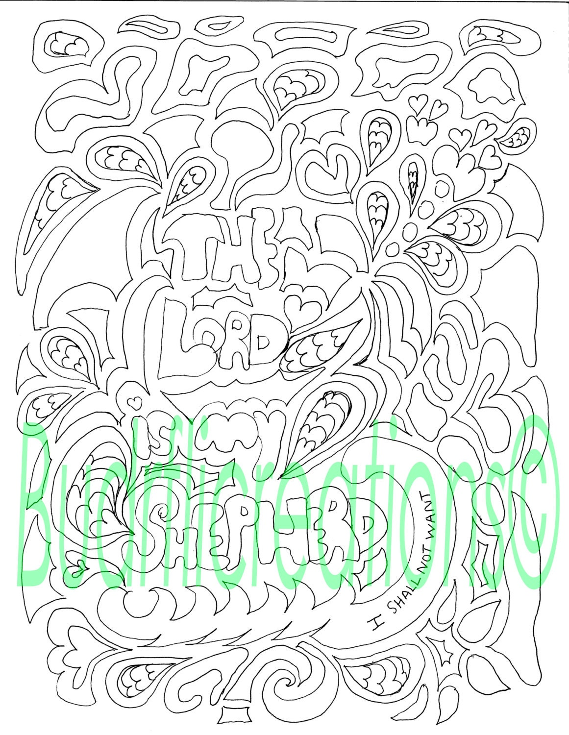 psalms 23 the lord is my shepherd coloring page digital
