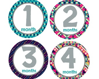 Milestone Month Stickers Girl, Monthly Baby Sticker, Months 1-12, Tribal Arrow, Babys First Year Stickers