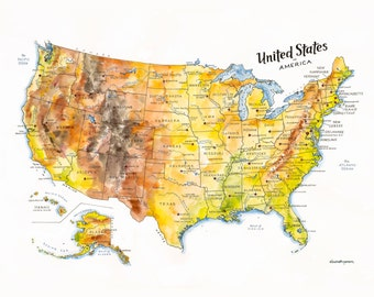 the united states of america map watercolor ilration usa map us map wall art 50 states