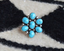 Bisbee Turquoise and Sterling Silver Navajo Cluster Ring size 7 Beautiful Color