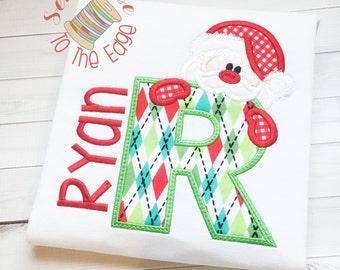 Christmas Santa T-Shirt - Kids Applique Shirts - Boys Embroidered Holiday Top - Christmas Shirt
