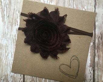 Brown Shabby Flower Headband