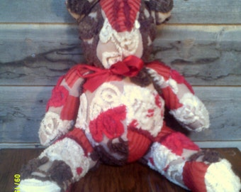 Vintage Hand Made Chenille Teddy Bear, Hand Made Teddy, Soft Teddy Bear, Red Teddy Bear, Chenille Bear, Chenille Animal