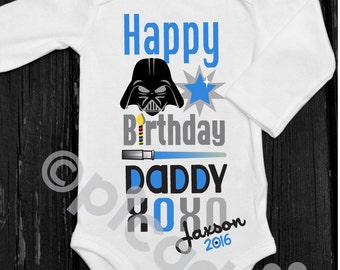 Personalized clothing for babies and kids by shoppicadilly on etsy happy birthday daddy star wars onesie personalized gift from baby boy star wars birthday onesie boys negle Gallery