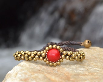 Beaded Brass Bracelet - Red Focal Bead (035B)