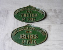 Vintage French Set of 2 Authentic Agricultural Show Plaques,Prizes from 1932.Rams/Sows