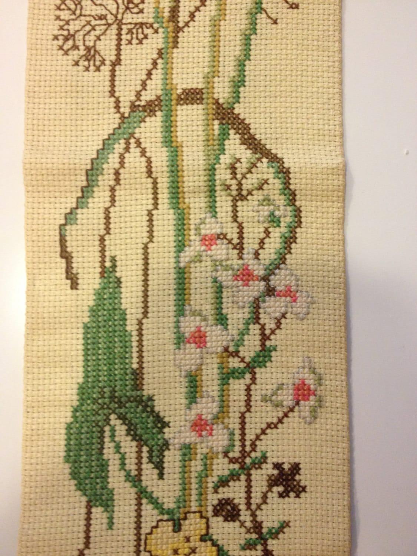 Danish Modern Lined Handmade Embroidery Needlework Wall Hanging ...