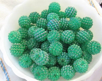 Green Iridescent Beads