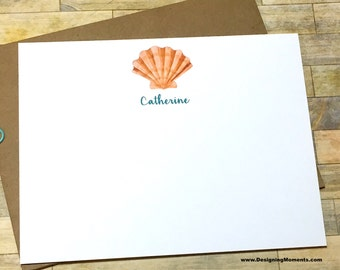 Seashell Personalized Note Card Set - Watercolor Beach Stationery - Stationary - Custom Personalized Cards - Sea Shell Thank You Cards DM180