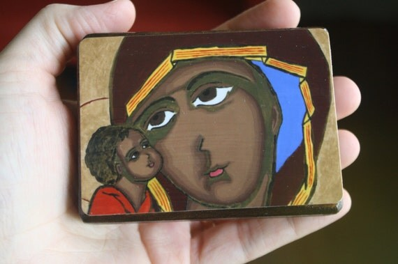 "2.5"" X 3.5"" Our Lady of Tenderness Byzantine Folk style icon on wood by DL Sayles"