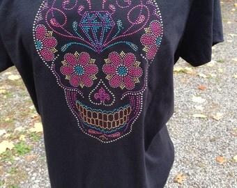 Rhinestud Sugar Skull Ladies T-Shirt, Day of the Dead