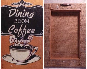 Coffee Decor, Coffee Wall Art, Burlap Coffee Art, Farmhouse Decor, Canvas Wall Art, Shabby Coffee Decor, Rustic Coffee Canvas, Burlap Decor