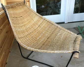 "Exquisite Mid Century Modern Woven ""Duyan"" Lounge Chair by John Risley or Danny Ho Fung Rattan.  Wrought Iron Base. EXCELLENT Quality!"