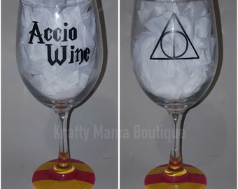 Accio Wine - Harry Potter Hand Painted Wine Glass