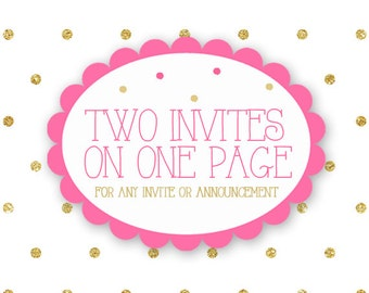 Add two Invites or Announcements onto one page - ADD ON