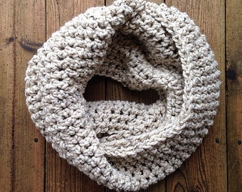 Infinity Scarf - beige with black and brown flecks