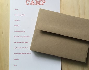 kids camp stationery, vintage inspired, camp stationery set