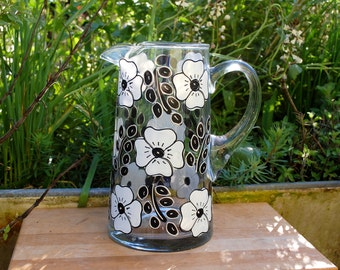 Posy Flower Pitcher - Hand Painted Black and White Flower Pitcher