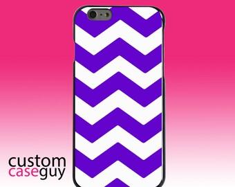 Hard Snap-On Case for Apple 5 5S SE 6 6S 7 Plus - CUSTOM Monogram - Any Colors - Purple White Chevron Stripes